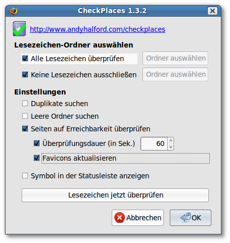 Das Firefox-Addon Checkplaces
