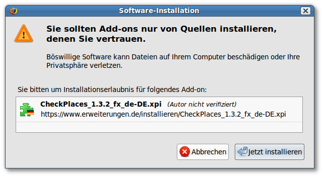 Addon Checkplaces installieren