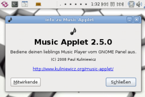 Music Applet fürs Gnome-Panel