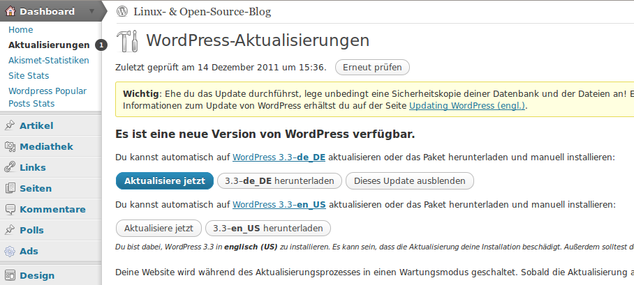 Update auf Wordpress 3.3