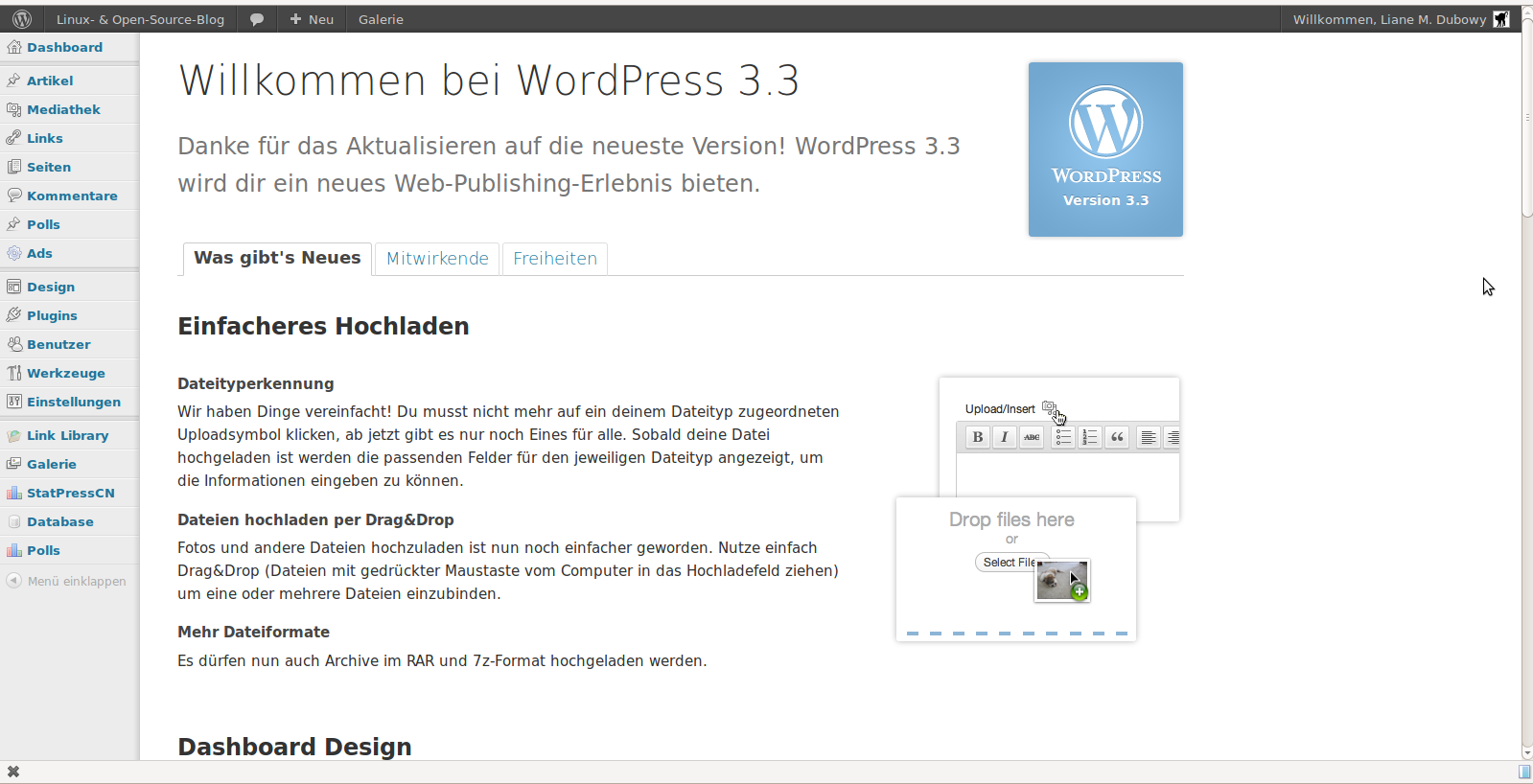 Wordpress 3.3 nach dem Update
