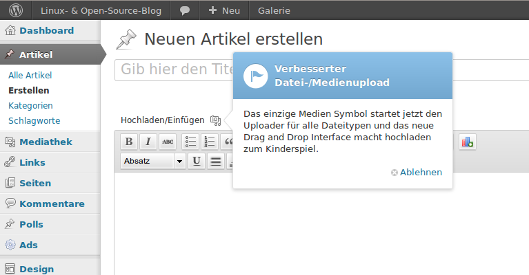 Upload in Wordpress 3.3: Nur noch ein Icon