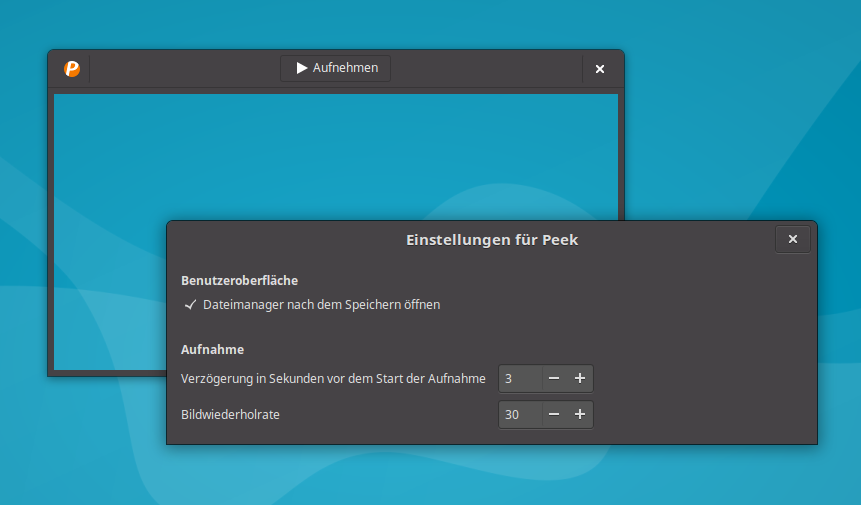 Peek-Programmfenster