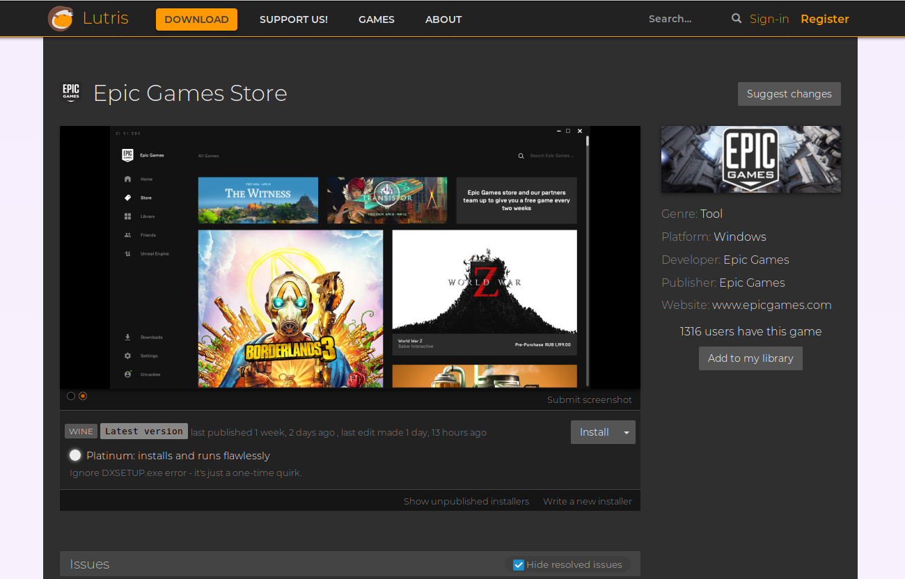 Epic Games Store unter Linux