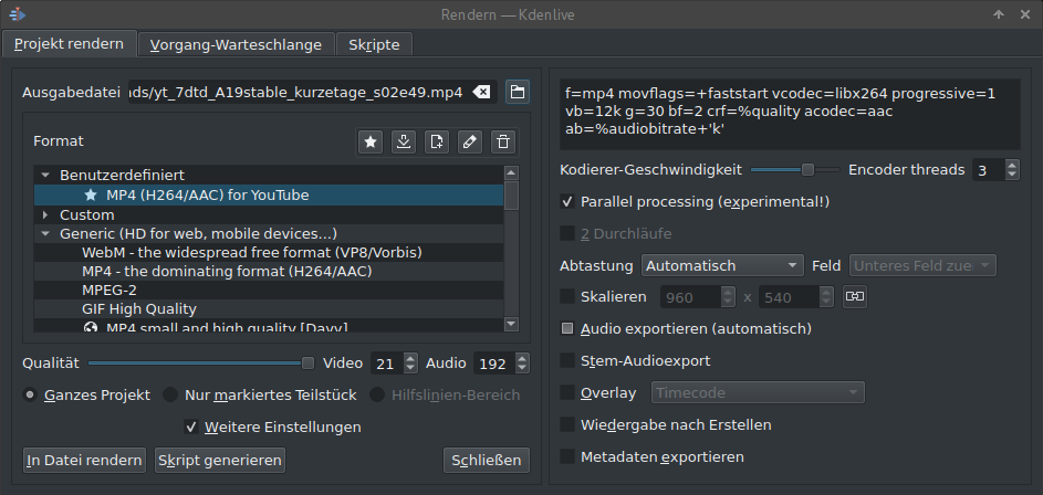 Render-Einstellungen in Kdenlive